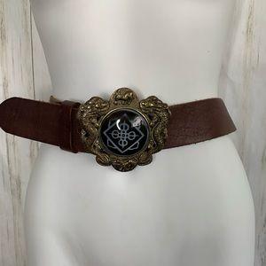 Lucky Brand Leather Belt Brass Buckle